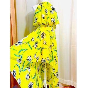 Eliza J Floral Chiffon Pop Over Hi-Low Dress NWOT!